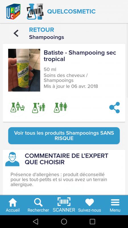 application cosmétiques dangereux